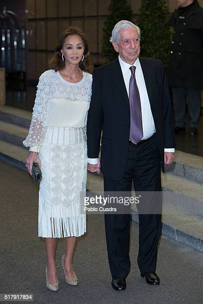 Isabel Preysler and Mario Vargas Llosa attend the Mario Vargas Llosa 80th birthday party at the Villa Magna hotel on March 28 2016 in Madrid Spain