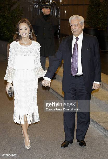 Isabel Preysler and Mario Vargas Llosa attend the Mario Vargas Llosa 80th birthday party on March 28 2016 in Madrid Spain