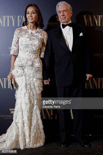 Isabel Preysler and writer Mario Vargas Llosa attends the 'Vanity Fair number 100 party' photocall at Real Academia de Bellas Artes de San Fernando...