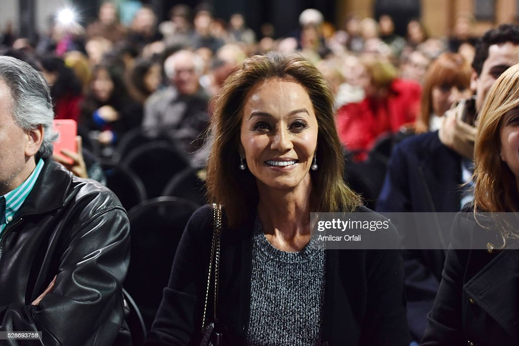 """Isabel Preysler smiles during a Mario Vargas Llosa conference to present his book """"Cinco esquinas"""" as part of Buenos Aires International Book Fair at La Rural on May 06, 2016 in Buenos Aires, Argentina."""