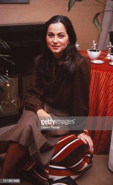 Isabel Preysler wife of Julio Iglesias at Christmas at her home in Madrid 23rd December 1979 Madrid Spain