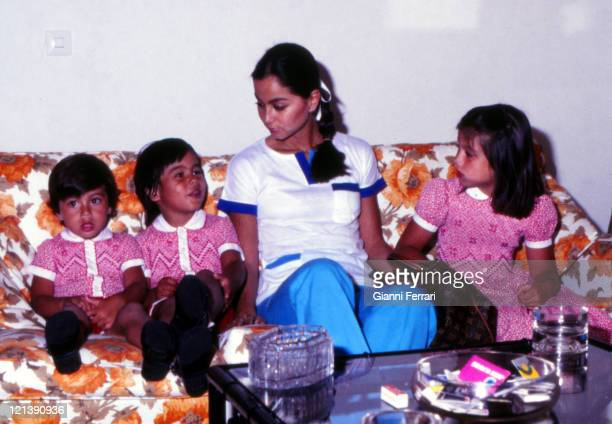 Isabel Preysler wife of Julio Iglesias with her three children Enrique Julio Jose and Chaveli at her home in Madrid Madrid Spain