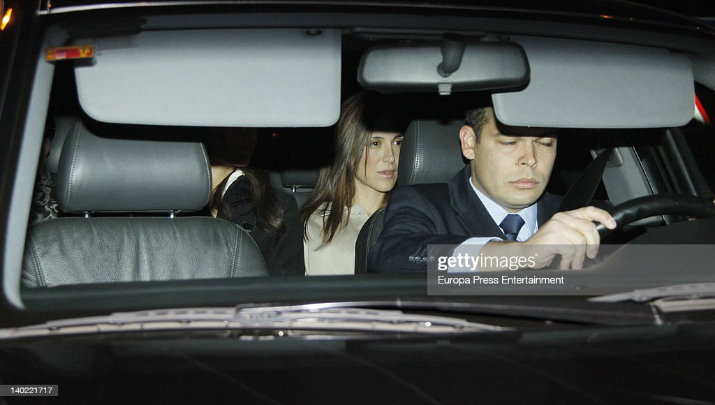 Isabel Preysler's daughter Tamara Falco visits Miguel Boyer at Ruber Hospital on February 29, 2012 in Madrid, Spain. Miguel Boyer suffered a brain hemorrhage on February 27, 2012 in Madrid, Spain.