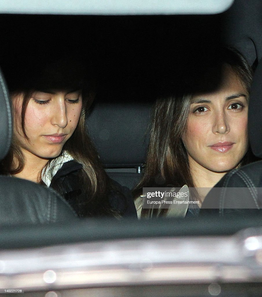 Isabel Preysler's daughters Tamara Falco (R) and <a gi-track='captionPersonalityLinkClicked' href=/galleries/search?phrase=Ana+Boyer&family=editorial&specificpeople=4043272 ng-click='$event.stopPropagation()'>Ana Boyer</a> (L) visit Miguel Boyer at Ruber Hospital on February 29, 2012 in Madrid, Spain. Miguel Boyer suffered a brain hemorrhage on February 27, 2012 in Madrid, Spain.