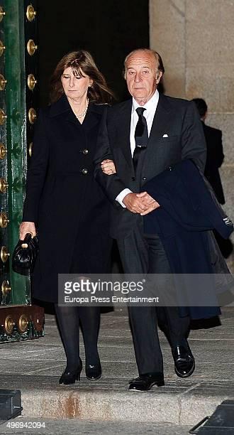 Isabel Santos and Samuel Flores attend a mass service for Spain's Duke of Calabria Carlos de Borbon Dos Sicilias on November 12 2015 in El Escorial...