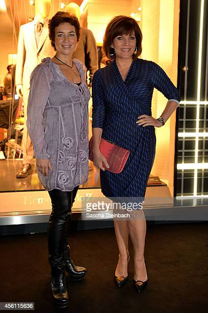Isabel Varell and Birgit Schrowange attend the Ermenegildo Zegna store reopening on September 25 2014 in Duesseldorf Germany