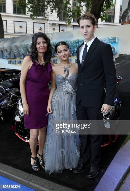 Isabela Moner and family attend the global premiere of 'Transformers The Last Knight' at Cineworld Leicester Square on June 18 2017 in London England