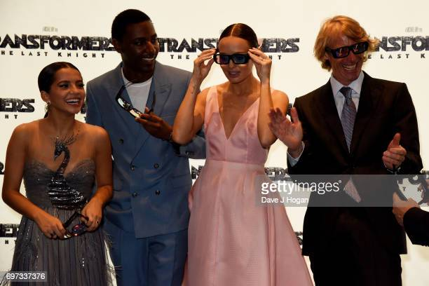 Isabela Moner Jerrod Carmichael Laura Haddock and Michael Bay attend the global premiere of 'Transformers The Last Knight' at Cineworld Leicester...