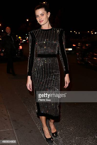 Isabeli Fontana arrives at the Balmain After Show Party at 'Laperouse' restaurant as part of the Paris Fashion Week Womenswear Spring/Summer 2016 on...