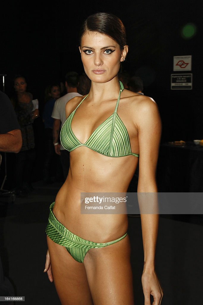 Isabeli Fontana poses backstage at the Agua de Coco show during Sao Paulo Fashion Week Summer 2013/2014 on March 20, 2013 in Sao Paulo, Brazil.
