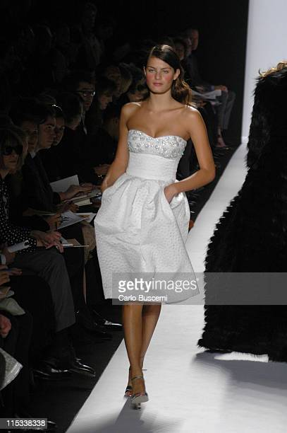 Isabeli Fontana wearing Michael Kors Fall 2005 during Olympus Fashion Week Fall 2005 Michael Kors Runway at The Tent Bryant Park in New York City New...