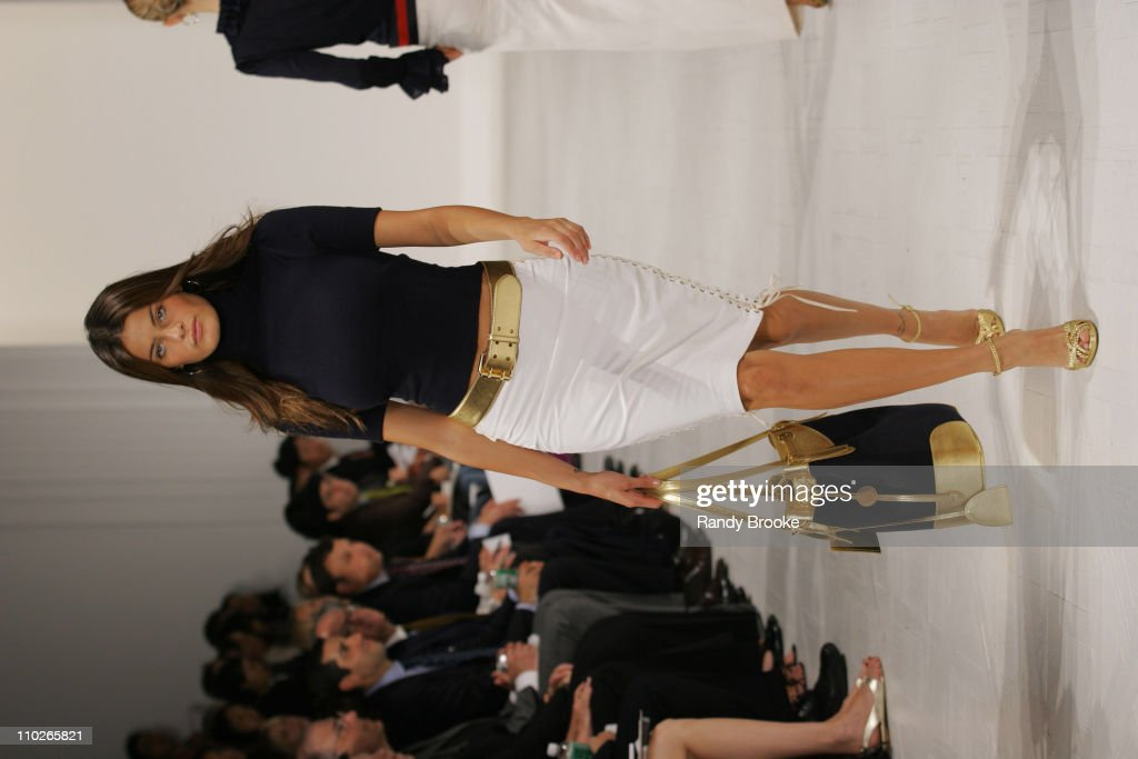 Isabeli Fontana wearing Ralph Lauren Spring 2006 during Olympus Fashion Week Spring 2006 - Ralph Lauren - Runway at The Annex in New York City, New York, United States.
