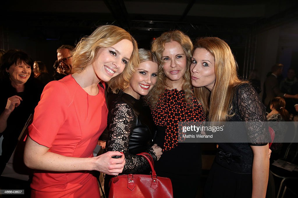 Isabell Edvardsson, Jennifer Knaeble, Katja Bukard and Miriam Lange attend the Thomas Rath fashion show during Platform Fashion Dusseldorf on February 2, 2014 in Dusseldorf, Germany.