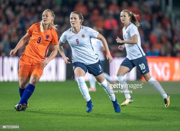 Isabell Herlovsen Caroline Graham Hansen of Norway Stefanie van der Gragt of Netherland during the FIFA 2018 World Cup Qualifier between Netherland...