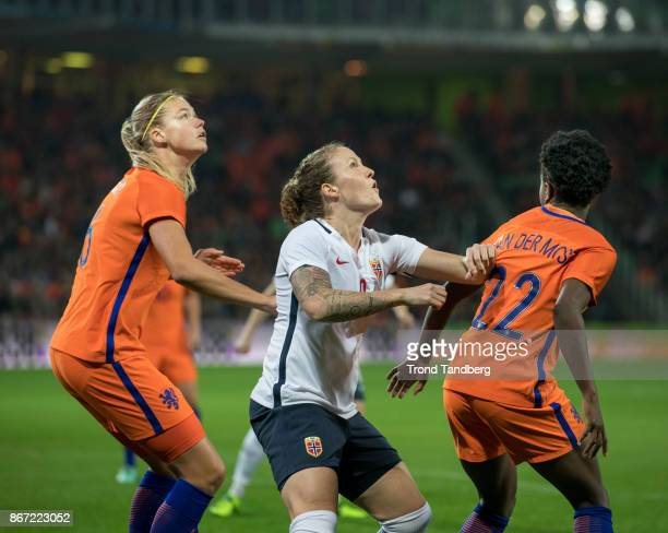 Isabell Herlovsen of Norway Anouk Dekker Liza van der Most of Netherland during the FIFA 2018 World Cup Qualifier between Netherland and Norway at...