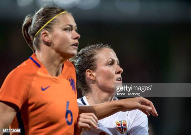Isabell Herlovsen of Norway Anouk Dekker of Netherland during the FIFA 2018 World Cup Qualifier between Netherland and Norway at Noordlease Stadion...