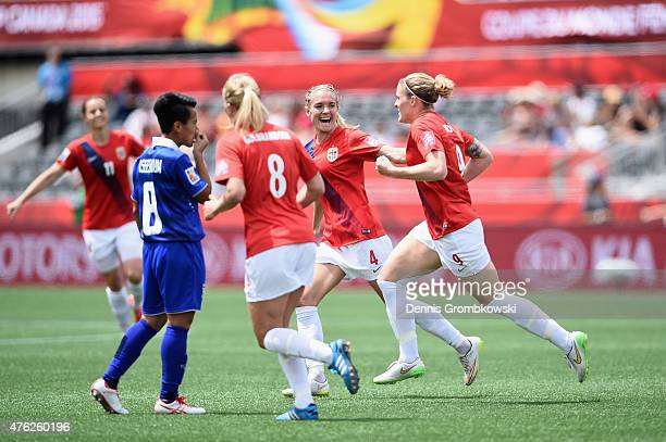 Isabell Herlovsen of Norway celebrates with team mates as she scores their second goal during the FIFA Women's World Cup Canada 2015 Group B match...