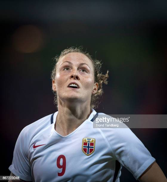 Isabell Herlovsen of Norway during the FIFA 2018 World Cup Qualifier between Netherland and Norway at Noordlease Stadion on October 24 2017 in...