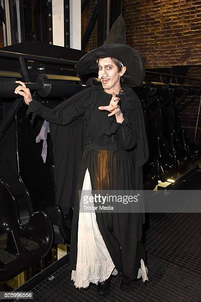 Isabell Horn as witch during the Isabell Horn Photo Call At Berlin Dungeon on April 29 2016 in Berlin Germany