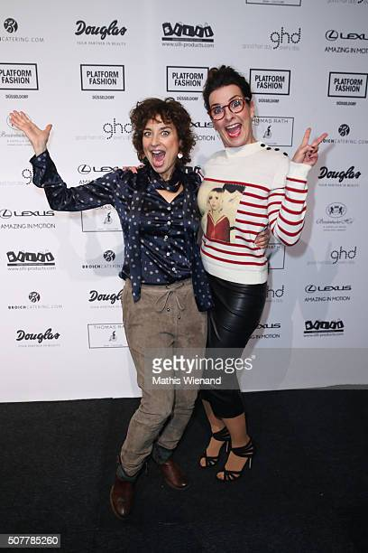 Isabell Varell and Astrid Rudolf attend the Thomas Rath show during Platform Fashion January 2016 at Areal Boehler on January 31 2016 in Duesseldorf...