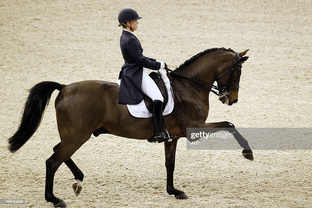 Isabell Werth from Germany with Don Johnson compete during the World Cup dressage at the Jumping Amsterdam, on January 18, 2013 in Amsterdam. AFP PHOTO/ANP/ BAS CZERWINSKI netherlands out