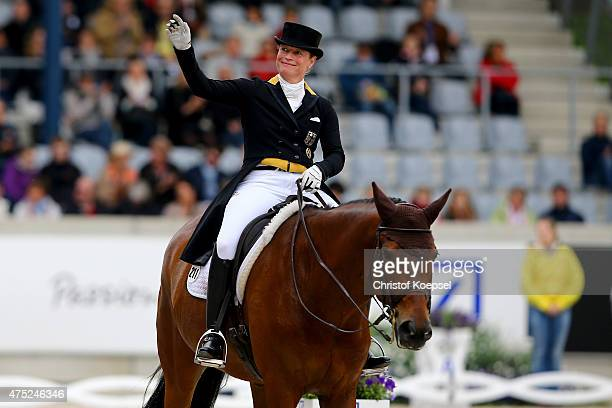 Isabell Werth of Germany rides on Don Johnson FRH and won the dressage GrandPrix CDI competition during the 2015 CHIO Aachen tournament at Aachener...