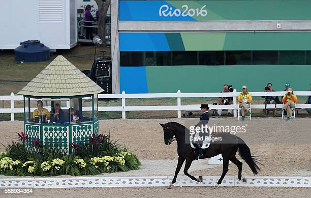 Isabell Werth of Germany riding Weihegold Old perform as they win the team gold during the final day of the Dressage Grand Prix event on Day 7 of the...