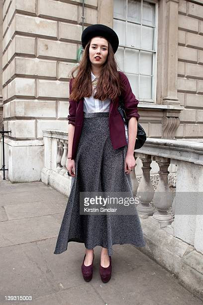 Isabella Allen wearing vintage clothes vintage bag Wonhundred shoes street style at London fashion week autumn/winter 2012 womenswear shows on...
