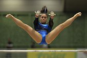 Isabella Amado of Panama competes during the Women's Uneven Bars Final in the Artistic Gymnastics World Challenge Cup at the Ivan de Bedout coliseum...
