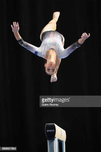 Isabella Brett of New Zealand competes on the Beam during the Australian Gymnastics Championships at Hisense Arena on May 26 2017 in Melbourne...