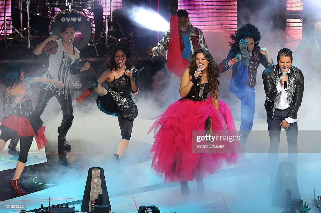 Isabella Castillo and Andrés Mercado perform onstage at the Kids Choice Awards Mexico 2012 at Pepsi Center WTC on September 1, 2012 in Mexico City, Mexico.