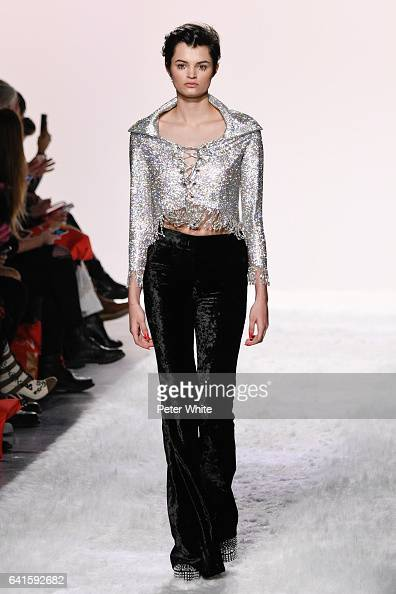 Isabella Emmack walks the runway at the Jeremy Scott show during New York Fashion Week at Gallery 1 Skylight Clarkson Sq on February 10 2017 in New...
