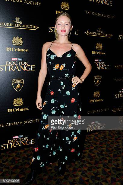 Isabella Farrell attends the Lamborghini with The Cinema Society JaegerLeCoultre 19 Crimes Wines Host a Screening of Marvel Studios' 'Doctor Strange'...