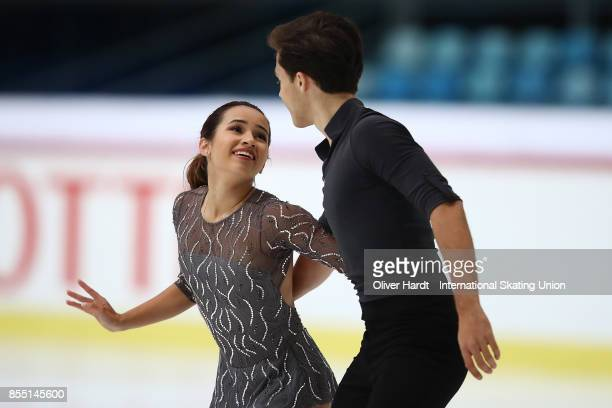 Isabella Gamez and Ton Consul of Spain performs in the Junior Pairs Short Program during day two of the ISU Junior Grand Prix of Figure Skating at...