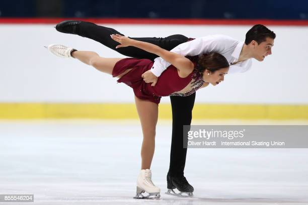 Isabella Gamez and Ton Consul of Spain performs in the Junior Pairs Free Skating Program during day three of the ISU Junior Grand Prix of Figure...