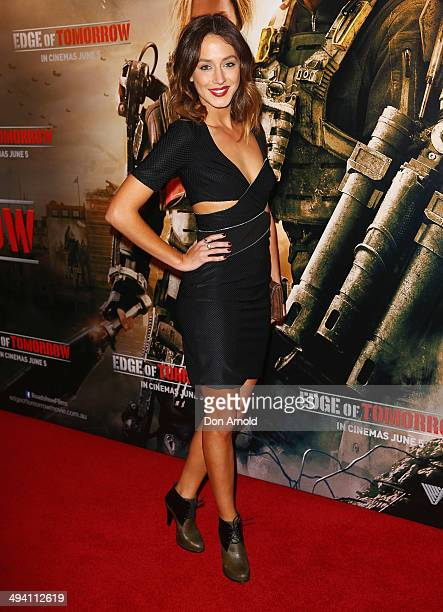 Isabella Giovinazzo arrives at the premiere of Edge Of Tomorrow at Hoyts Cinemas Broadway Shopping Centre on May 28 2014 in Sydney Australia