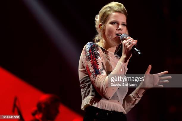Isabella 'Levina' Lueen performs the winning title during the 'Eurovision Song Contest 2017 Unser Song' show on February 9 2017 in Cologne Germany