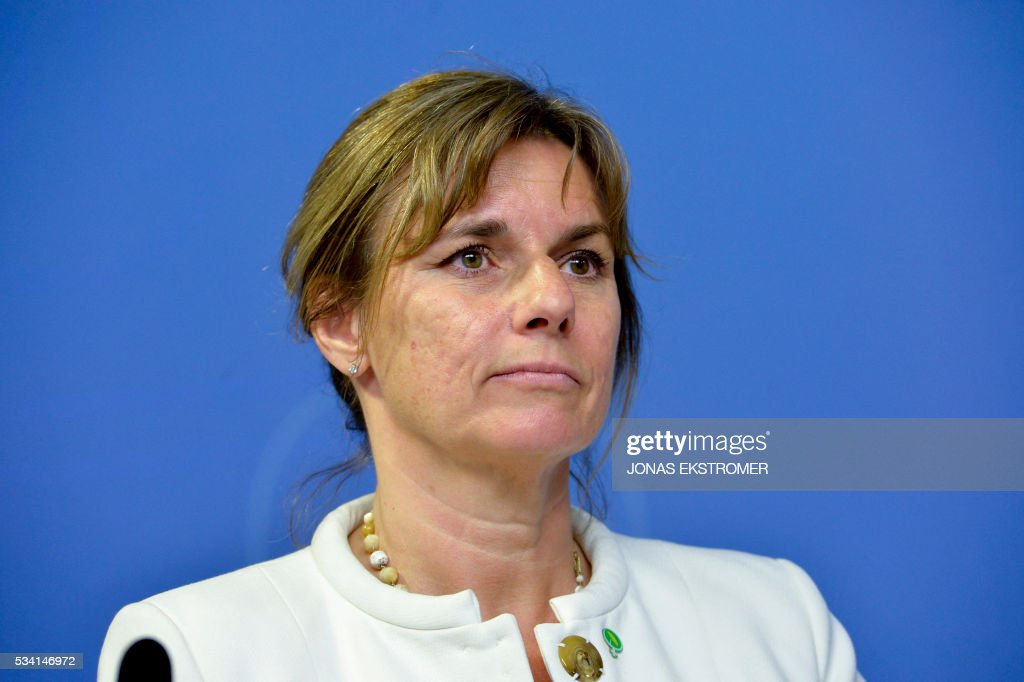 Isabella Lovin, Sweden's new Minister for international development and climate attends a press conference after a government reshuffle on May 25, 2016 in Stockholm. News Agency / Jonas EKSTROMER / Sweden OUT