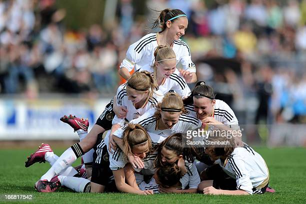 Isabella Moeller of Germany celebrates her opening goal with team mates during the International friendly match between U15 Germany and U16...