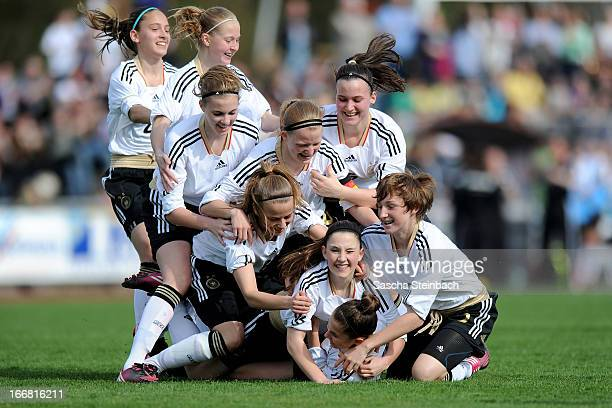 Isabella Moeller of Germny celebrates her opening goal with team mates during the International friendly match between U15 Germany and U16...