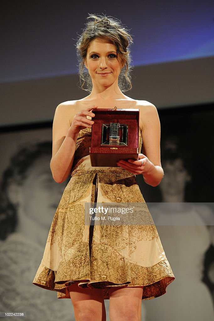 Isabella Ragonese poses with the award for Best Supporter Actress (Ex Aequo) during the Nastri d'Argento ceremony awards on June 19, 2010 in Taormina, Italy.