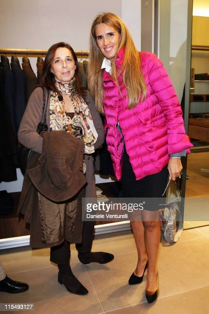 Isabella Rauti wife of the Mayor of Rome Gianni Alemanno and Tiziana Rocca attends Fay flagship store opening at Via Fontanella Borghese on October...