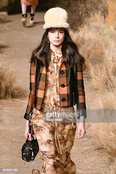 Isabella Ridolfi walks the runway at Coach fashion show during New York Fashion Week at Hudson River Park Pier 76 on on February 14 2017 in New York...