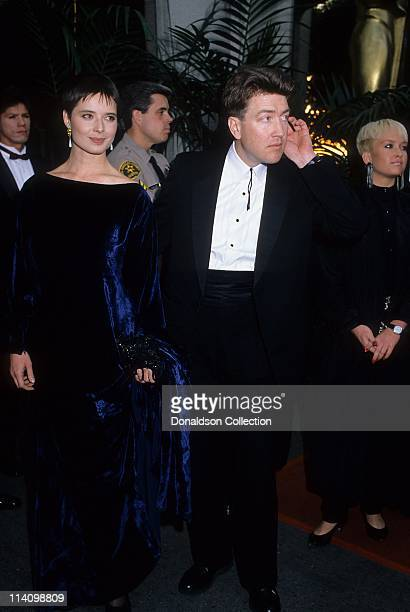 Isabella Rossellini and Director David Lynch at Academy Awards in March 30 1987 in Los Angeles California