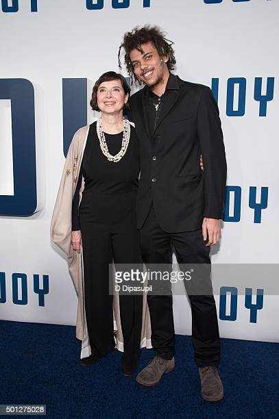 Isabella Rossellini and son Roberto Rossellini attend the 'Joy' New York premiere at the Ziegfeld Theater on December 13 2015 in New York City