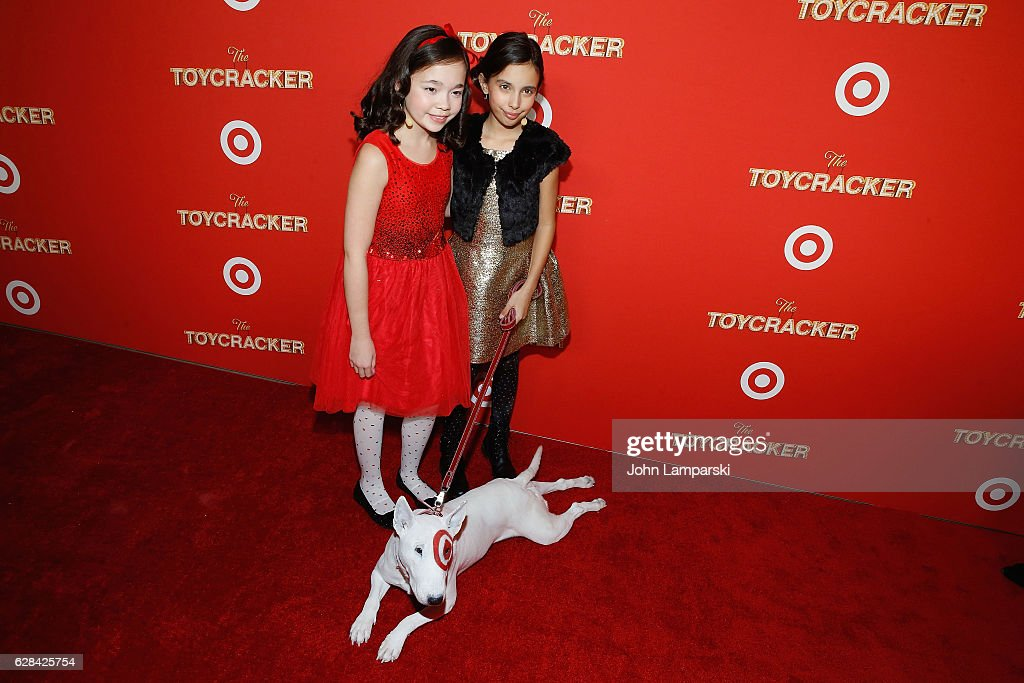 Isabella Russo,, Kylie Cantrall and dog Target attend Target's Toycracker Premiere event at Spring Studios on December 7, 2016 in New York City.