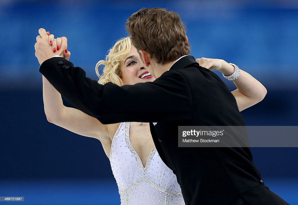 Isabella Tobias and Deividas Stagniunas of Lithuania compete during the Figure Skating Ice Dance Short Dance on day 9 of the Sochi 2014 Winter Olympics at Iceberg Skating Palace on February 16, 2014 in Sochi, Russia.