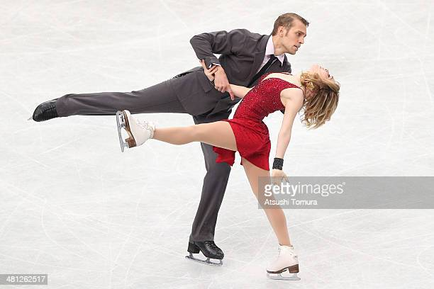 Isabella Tobias and Deividas Stagniunas of Lithuania compete in the Ice Dance Free Dance during ISU World Figure Skating Championships at Saitama...