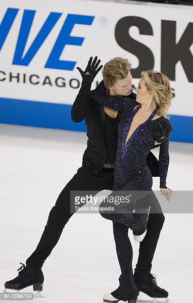 Isabella Tobias and IIia Tkachenko of Israel compete in the ice dance short dance at 2016 Progressive Skate America at Sears Centre Arena on October...