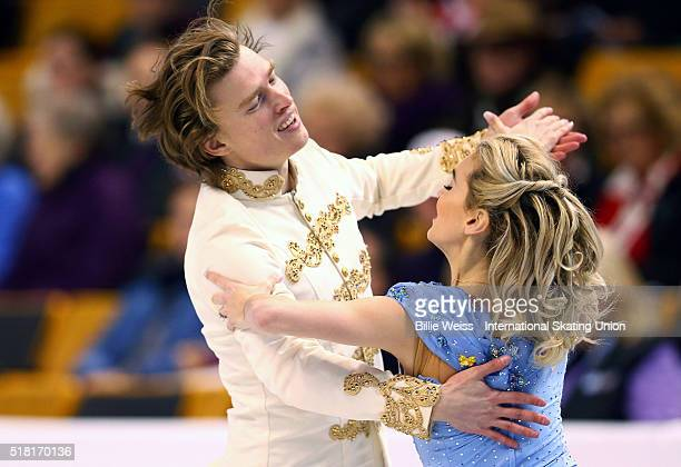 Isabella Tobias and Ilia Tkachenko of Israel compete during Day 3 of the ISU World Figure Skating Championships 2016 at TD Garden on March 30 2016 in...